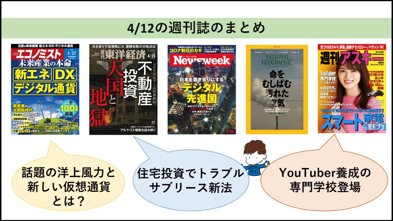 今週の話題作り「週刊誌」のまとめ(21/4/19)